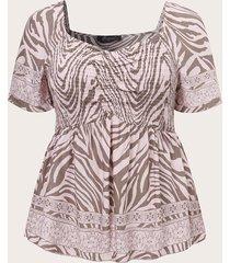 camicetta da donna con stampa zebrata, manica corta, elasticizzata, taglia plus