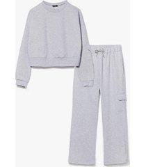womens cargo away sweatshirt and joggers lounge set - grey