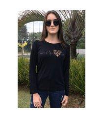 blusa t shirt manga longa estampada aplique preto