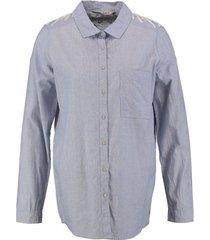 garcia langere blauwe blouse met borduringen