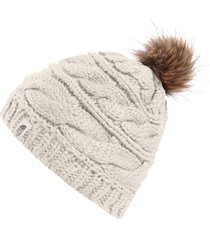 gorro the north face triple cable fur pom bege