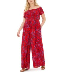 band of gypsies trendy plus size floral-print ruched-bodice jumpsuit