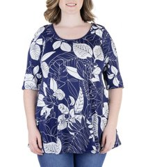 plus size floral elbow sleeve flared tunic top