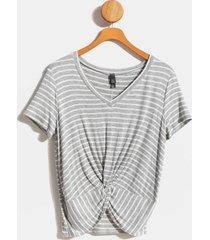 joney striped front twist tee - heather gray