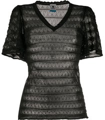 m missoni sheer zig-zag knit t-shirt - black