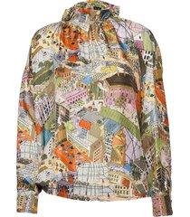 ines, 926 silk twill blouse lange mouwen multi/patroon stine goya