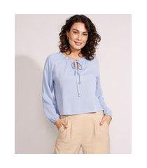 blusa ampla de viscose maquinetada manga longa decote redondo com cordão azul claro