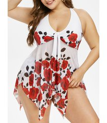 plus size halter floral print handkerchief tankini swimwear