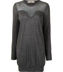 céline pre-owned pre-owned sheer panel fine knit dress - grey