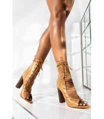 akira feel the beat lace up chunky heel bootie