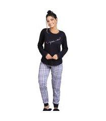 pijama plus size inverno blusa manga longa e calça