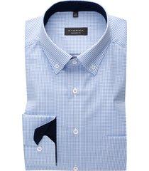 eterna overhemd comfort fit lichtblauw geruit