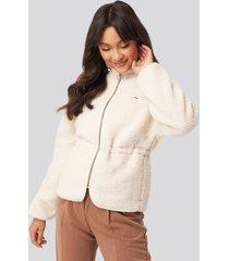 fila hajar sherpa fleece jacket - white