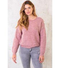 gebreide hartjes knopen trui oud roze