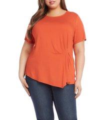 plus size women's karen kane side pleat knit top, size 2x - orange