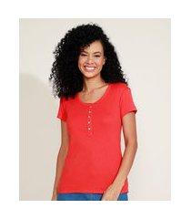 camiseta feminina básica com botões manga curta decote redondo laranja