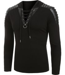 faux leather pleated sleeve lace-up pullover hoodie