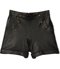 balmain black glitter-effect shorts