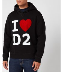 dsquared2 men's cool fit love d2 hoodie - black - xxl