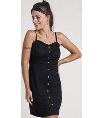 vestido de sarja feminino curto com botões alça fina preto