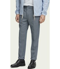scotch & soda blake - pleated patterned trousers regular slim fit