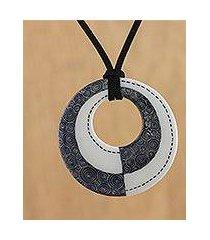 ceramic pendant necklace, 'infinite duality' (thailand)