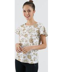 camiseta para mujer rosas color blanco, talla l
