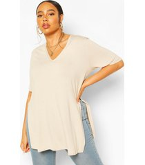plus v neck split side longline t-shirt, stone