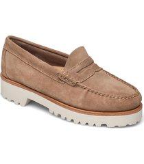 gh weejun 90 penny velour loafers låga skor beige g.h. bass