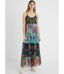 long flared dress floral patch - blue - xl