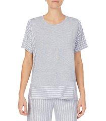 donna karan sleepwear women's striped short-sleeve pajama top - grey heather - size l