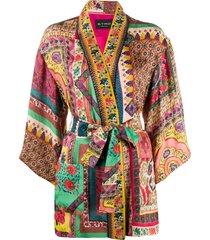 etro patchwork tie waist jacket - yellow