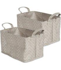 design imports polyethylene coated woven paper laundry bin tribal chevron stone rectangle small set of 2