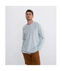 camiseta manga longa com capuz | marfinno | azul | p