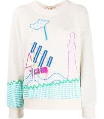 mira mikati sail boat embroidered sweatshirt - neutrals