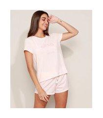 "pijama feminino sono"" manga curta rosa claro"""