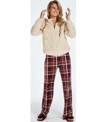 hunkemöller tall pyjamasbyxor i velour röd