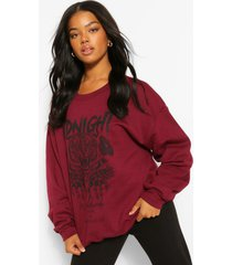 oversized midnight sweater met opdruk, kastanjebruin