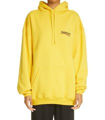 balenciaga campaign logo oversize cotton hoodie, size medium in yellow/black/red at nordstrom