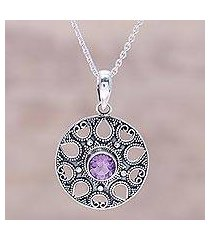 amethyst pendant necklace, 'lilac fountain' (india)