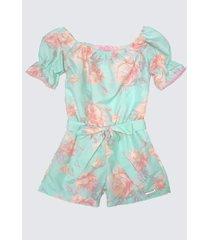 50712v - macaquinho floral verde miss doll
