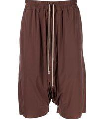 rick owens drawstring drop-crotch shorts - brown