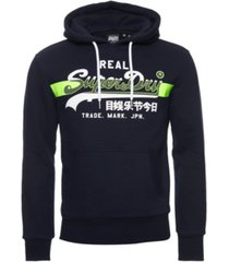 superdry men's vintage-like logo cross hatch brushed hoodie