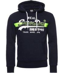 superdry men's vintage-like logo cross hatch brushed hoodie
