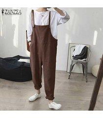 zanzea pantalones de carga con tirantes y tirantes de algodón para mujer dungaree wide legs overol liso -marrón