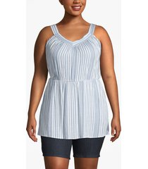 lane bryant women's striped cinched-waist tunic 18 blue/white