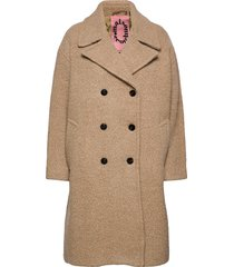 over d coat in boucle quality wollen jas lange jas beige scotch & soda