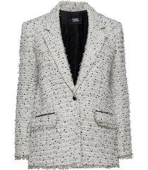 long boucle jacket blazer colbert wit karl lagerfeld