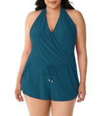 plus size women's magicsuit bianca one-piece romper swimsuit, size 24w - blue/green