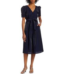 baum und pferdgarten women's back to back alma puff-sleeve dress - peacoat - size 38 (8)